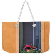 Geraniums In A Yellow Window In Treviso Italy Weekender Tote Bag
