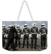 German Motorcycle Police Shake Hands Weekender Tote Bag by Stocktrek Images