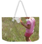 Girl Collecting Insects In A Meadow Weekender Tote Bag