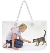 Girl Feeding Kitten From A Spoon Weekender Tote Bag by Mark Taylor