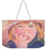 Girl In Straw Hat Weekender Tote Bag by Julie Brugh Riffey