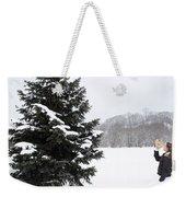 Girl Measuring Tree Height Weekender Tote Bag