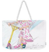 Girl On A Microscooter Cartoon Weekender Tote Bag