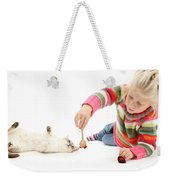 Girl Playing With Cat Weekender Tote Bag