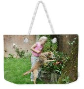 Girl Playing With Dog Weekender Tote Bag