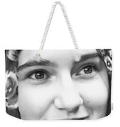 Girl With A Rose Veil 4 Bw Weekender Tote Bag