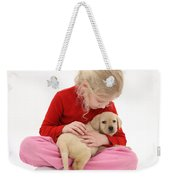 Girl With Puppy Weekender Tote Bag