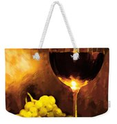 Glass Of Wine And Green Grapes By Candlelight Weekender Tote Bag by Elaine Plesser
