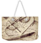 Glasses And Ink Pen On Letter Weekender Tote Bag