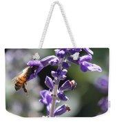 Glowing Bee In Purple Flowers Weekender Tote Bag