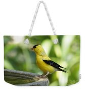 Gold Finch At The Bird Bath Weekender Tote Bag