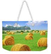 Golden Hay Bales In Green Field Weekender Tote Bag by Elena Elisseeva