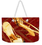Golden Lattice Slingbacks On Royal Red Carpet Weekender Tote Bag