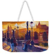 Golden Prague Charles Bridge Sunset Weekender Tote Bag