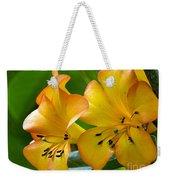 Golden Tropical Flowers Weekender Tote Bag