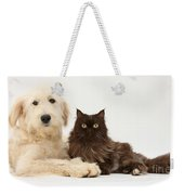 Goldendoodle And Chocolate Cat Weekender Tote Bag