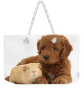 Goldendoodle Puppy And Guinea Pig Weekender Tote Bag