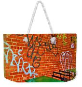 Grafitti Dining Weekender Tote Bag by Joan  Minchak