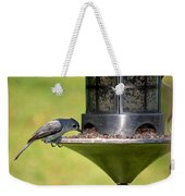 Gray Feathered Weekender Tote Bag