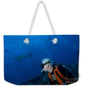 Gray Reef Shark With Diver, Papua New Weekender Tote Bag