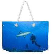 Gray Reef Shark With Divers, Papua New Weekender Tote Bag