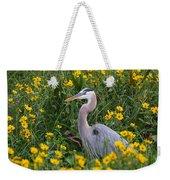 Great Blue Heron In The Flowers Weekender Tote Bag