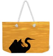 Great Blue Heron Landing In Golden Light Weekender Tote Bag