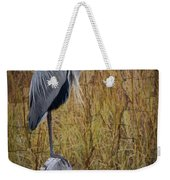 Great Blue Heron On Spool Weekender Tote Bag by Debra and Dave Vanderlaan