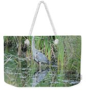 Great Blue Heron With Reflection Weekender Tote Bag