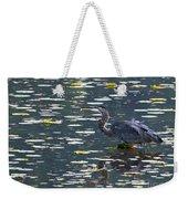 Great Blue Heron With Snack Weekender Tote Bag