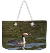 Great Crested Grebe With Breakfast Weekender Tote Bag
