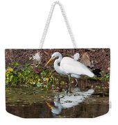 Great Egret Searching For Food In The Marsh Weekender Tote Bag