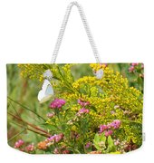 Great Southern White Butterfly Likes The Pink Flowers Weekender Tote Bag