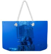 Great White Shark And Divers, Guadalupe Weekender Tote Bag