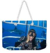 Great White Shark Behind Frightened Weekender Tote Bag