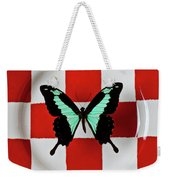 Green And Black Butterfly On Red Checker Plate Weekender Tote Bag