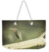 Green Heron On A Log Weekender Tote Bag