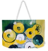 Green Jug With Round Flowers Weekender Tote Bag