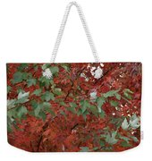 Green Leaves Against Red Leaves Weekender Tote Bag