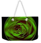 Green Rose On Black Weekender Tote Bag