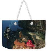 Green Sea Turtle And Underwater Weekender Tote Bag