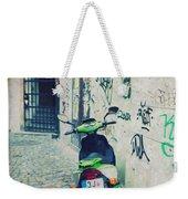 Green Vespa In Prague Weekender Tote Bag