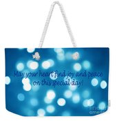 Greeting Card Blue With White Lights Weekender Tote Bag