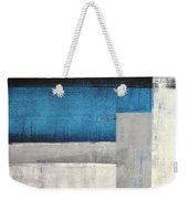 Straight Forward - Teal And Grey Abstract Art Painting Weekender Tote Bag