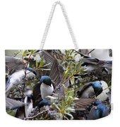 Grey Feathers - Tree Swallow Weekender Tote Bag