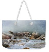 Grey Wolf Jumping Over A Mountain Stream Weekender Tote Bag