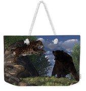 Grizzly Vs. Saber-tooth Weekender Tote Bag