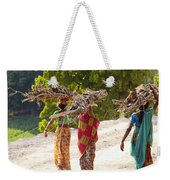 Group Of Women Carrying Firewood Near Weekender Tote Bag