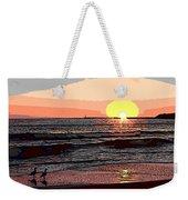 Gulls Enjoying Beach At Sunset Weekender Tote Bag