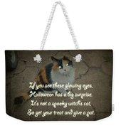 Halloween Calico Cat And Poem Greeting Card Weekender Tote Bag